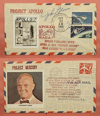 1962 Project Mercury + Apollo 7 Landing Space Cover Astronaut John Glenn Signed