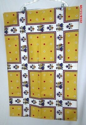 Vintage ?Pennsylvania Holland Dutch Tablecloth Blue Gold Red Tulips Hearts 51x80