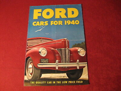 1940 Ford Large Showroom Original Brochure Sales Catalog Old Book Booklet
