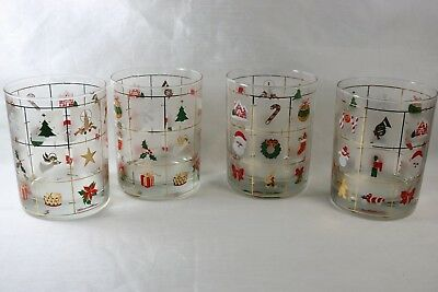 3 Culver Christmas Xmas Potpourri Frosted Cocktail Vintage Double Old Fashioned