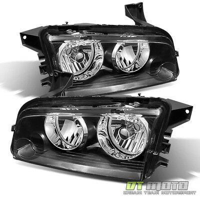 Black 2006-2010 Dodge Charger Replacement Headlights Headlamps Pair Left+Right