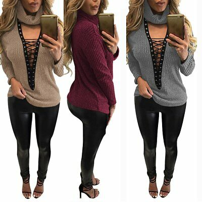 Sexy Women Turtleneck Lace Up Knitted Sweater Casual V Neck Pullover Jumper Tops