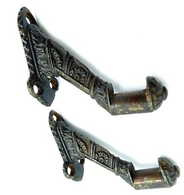 Antique victorian cast iron hand rail supports stair brackets 2 old authentic