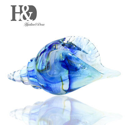 Hand Blown Seashell, Beautiful Home Decor, Handmade Glass Art, Glass Blue Conch
