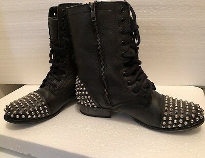 1e6aff4d846 STEVE MADDEN Tarnney Black Leather Studded Zip Combat Boots Lace Up Sz 9 M