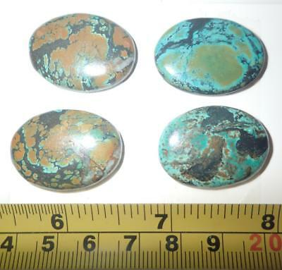 Turquoise Stone Oval 30x22 mm Flat Cabochon 102 Carat 4 pieces A