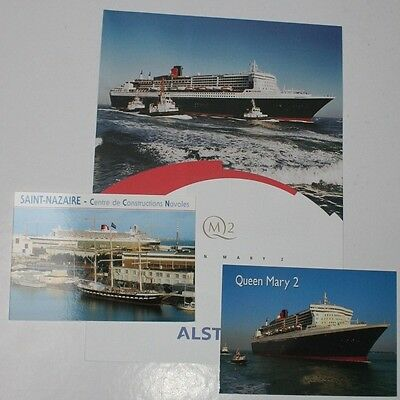 Liner Paquebot QUEEN MARY 2 Cunard QM2 Cruises Atlantique France & 2 Postcards