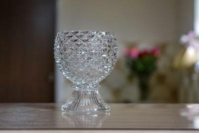 Vintage AVON Collectable Footed CANDLE HOLDER / CUP / CHALICE Diamond Cut Glass