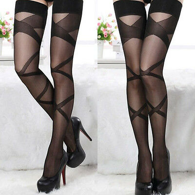 Ladies Womens Sexy Thigh High Patterned Sheer Stockings Hosiery Pantyhose Tights