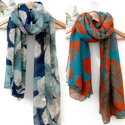 Women Long Cotton Voile Floral Flower Scarf Head Neck Wrap Shawl Stole Scarves