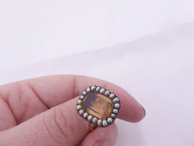 Georgian 18th century 9ct gold foiled domed back citrine natural seed pearl ring