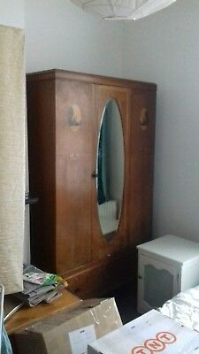 Antique 1930/ 1940's mirrored wardrobe with windmill accents on both sides