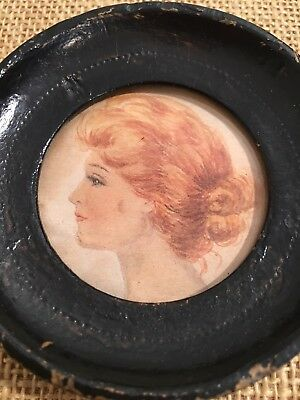 STUNNING ANTIQUE RUSTIC MINIATURE PORTRAIT of a LADY