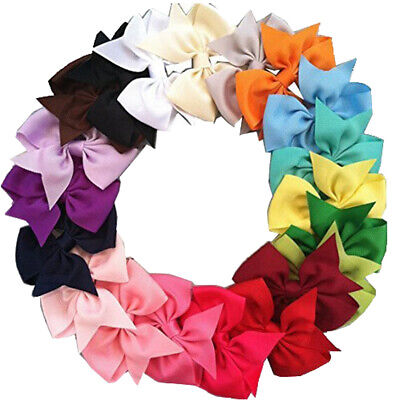 20Pcs Baby Hair Bows Band Girls Kids Hair Bands Grosgrain Ribbon Hair Clips