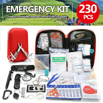 230Pcs SOS Kit Outdoor Emergency Equipment Box Camping Survival Gear First Aid