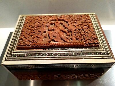 SUPERB INDIAN Antique CARVED WOOD SADELI-WORK BOX BOMBAY c1900