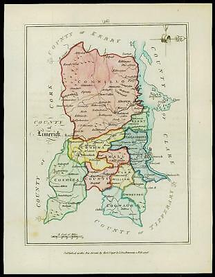 1776 IRELAND - Engraved Antique Map of COUNTY OF LIMERICK with original colour