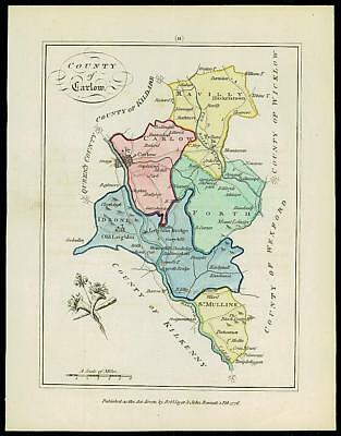 1776 IRELAND - Engraved Antique Map of COUNTY OF CARLOW with original colour