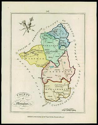 1776 IRELAND - Engraved Antique Map of COUNTY OF MONAGHAN with original colour