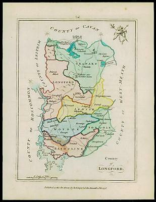 1776 IRELAND - Engraved Antique Map of COUNTY OF LONGFORD original colour