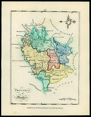 1776 IRELAND - Engraved Antique Map of COUNTY OF MUNSTER with original colour