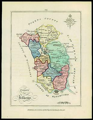 1776 IRELAND - Engraved Antique Map of COUNTY OF KILKENNY with original colour