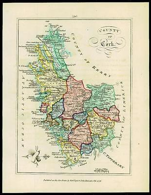 1776 IRELAND - Engraved Antique Map of COUNTY OF CORK with original colour
