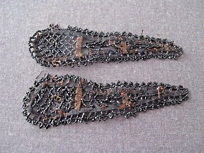 2 Antique Late 1800's Victorian Mourning Glass Beaded Lace Sewing Appliques   #4