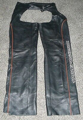 Harley-Davidson Deluxe Lined Leather Chaps Womens Small Logo on Leg