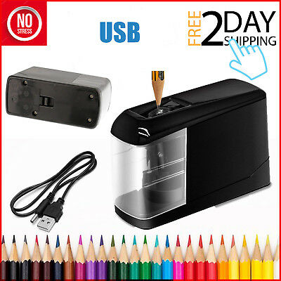 USB Electric Pencil Sharpener Automatic Black Battery Cable Small Desktop Office