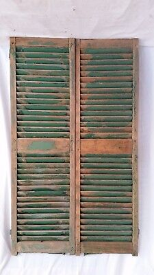 """Antique c1880 Pair Wood Shutters Pegged,Mortise & Tenon 16""""X 54"""" House Window"""