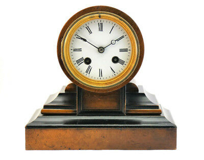 JAPY FRERES, FINE ANTIQUE 19thC FRENCH EBONISED WALNUT MANTLE CLOCK, BELL CHIME