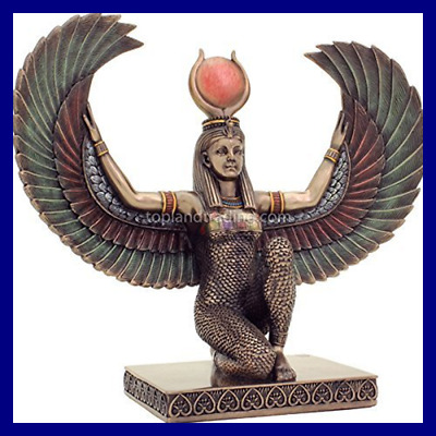 "8"" H 9"" W Egyptian Art Kneeling Isis Outstretched Wings Statue. Bronze Powder Mi"