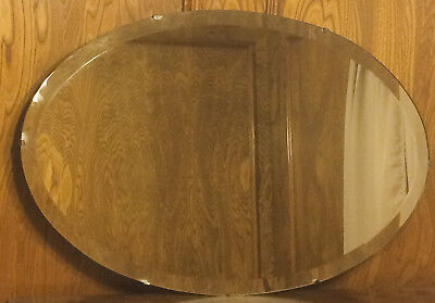 "Nice Large Vintage 29"" Oval Beveled Glass Mirror"