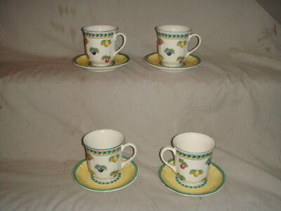 Set 4 Villeroy & Boch French Garden Fleurance Coffee Cup & Saucers