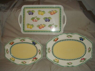 Villeroy and Boch French Garden Fleurence 2 Serving Platters & Plastic Tray