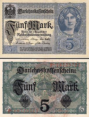 GERMANY 5 MARK 1917 UNC- P-56 With COMPLETELY WATERMARK