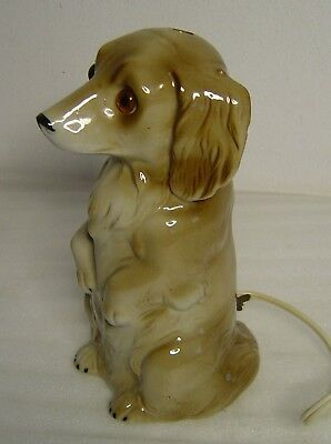 lovely old porcelain perfume lamp begging Dachshund dog signed crown GDR