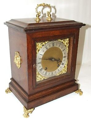 Antique Oak & Bronze Ormolu TING TANG Bracket Mantel Clock : Winterhalder W & H