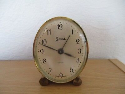 French Jaccard Brass  7 jewel Mantle Alarm Clock - Winding and Working