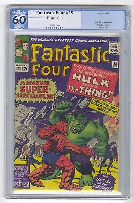 Fantastic Four #25 PGX 6.0 VINTAGE Marvel Comic Hulk Xover Kirby Lee WHITE PAGES