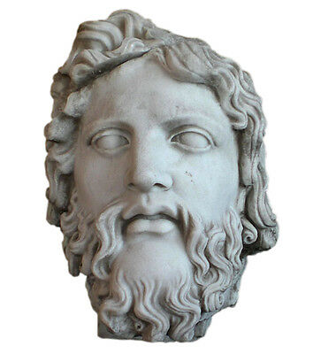 Zeus OVERSIZE Marble Head Roman Greek Hellenistic Sculpture Replica Reproduction