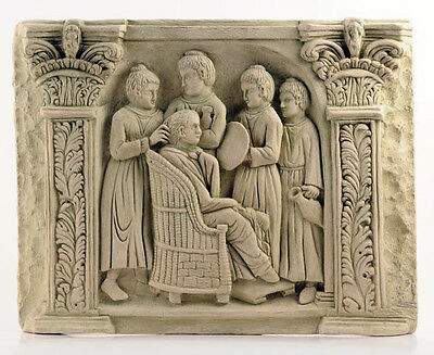 Roman Lady and Slaves Relief Carving Frieze Museum Replica Reproduction