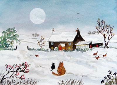 ORIGINAL Watercolour Painting: ANIMALS: CATS AND HENS IN SNOWY MOONLIGHT