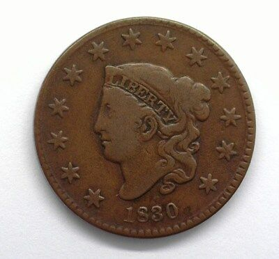 1830 Coronet Head Large Cent  Very Fine