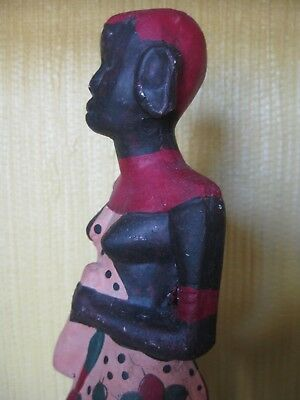 """African Tribal Maasai Multi-Color Hand Painted Pottery Woman Gourd Sculpture 12"""""""
