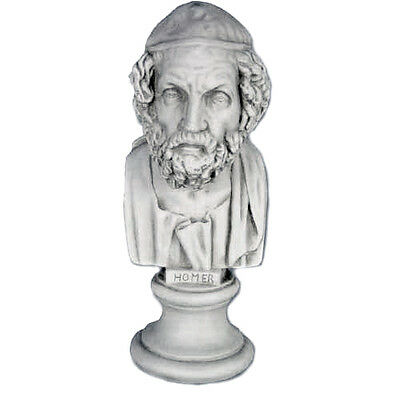 "Ancient Greek Poet Homer bust 11"" Museum Sculpture Replica Reproduction"