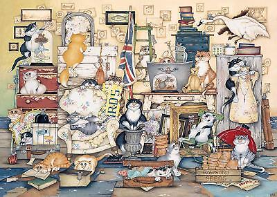 NEW! Ravensburger Crazy Cats go Salvage Hunting by Linda Jane Smith 1000 jigsaw