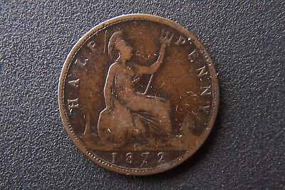 1872 UK (British) Victoria Coin - Half Penny (1/2d) - G/VG Condition