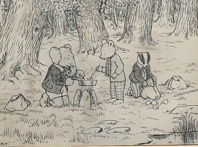 Mary Tourtel Rupert Bear Original Artwork 1932 Rupert Goes Hiking Unique